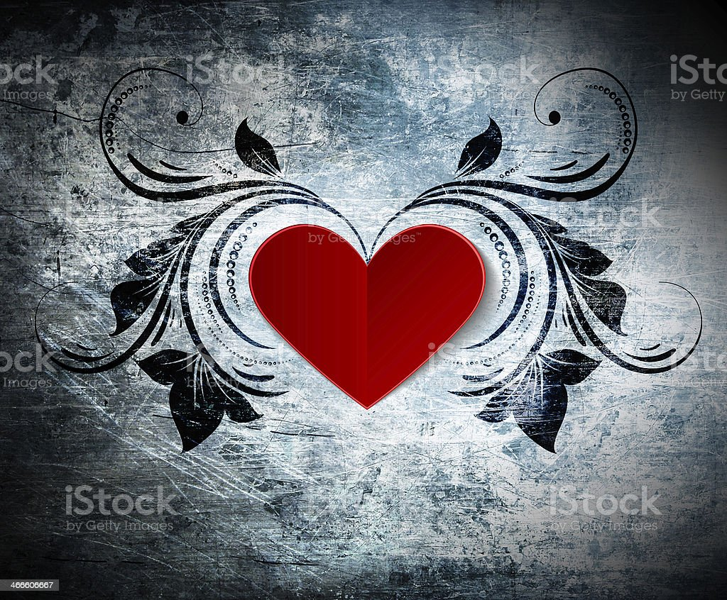 Valentine's day card, background, greeting. Heart on a grunge background. stock photo