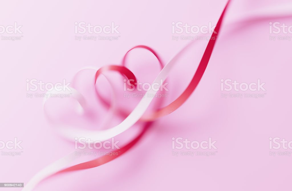Valentines Day Card Heart Shaped Ribbons Tangled On Pink Background Stock Photo Download Image Now Istock