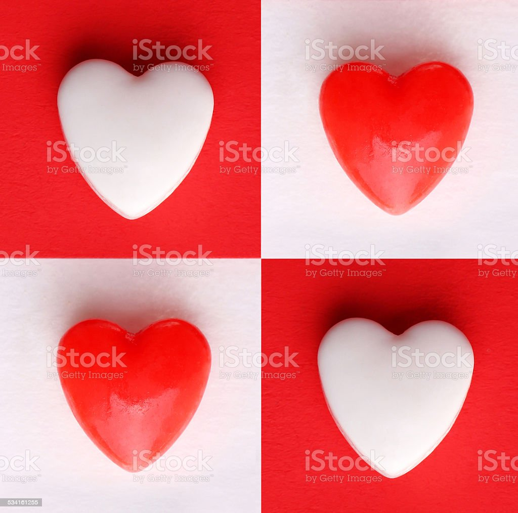 Valentine's Day Card. Hearts over White and Red backgrounds stock photo