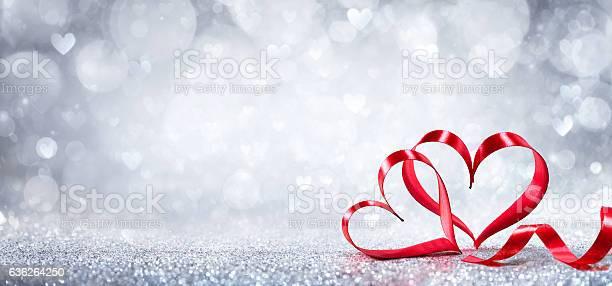 Valentines Day Decoration - Ribbon Shaped Hearts On Shiny Background