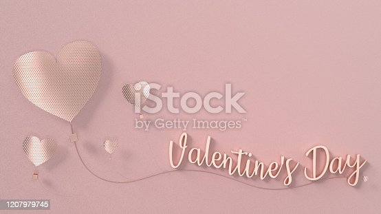 1078237178 istock photo Valentine's day card text stand on sling that tied with metallic balloon heart on pink background in pastel color tone with 3d rendering. 1207979745