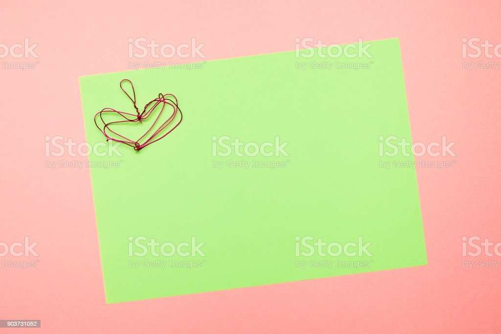 Valentines Day Card Wedding Red Heart Made Of Folded Wire On Textured Green