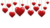 Valentines Day card with red hearts isolated on white background