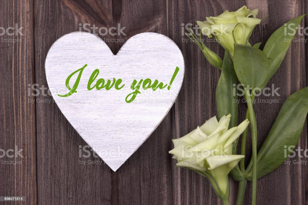 Valentine's Day card with text I love you green stock photo