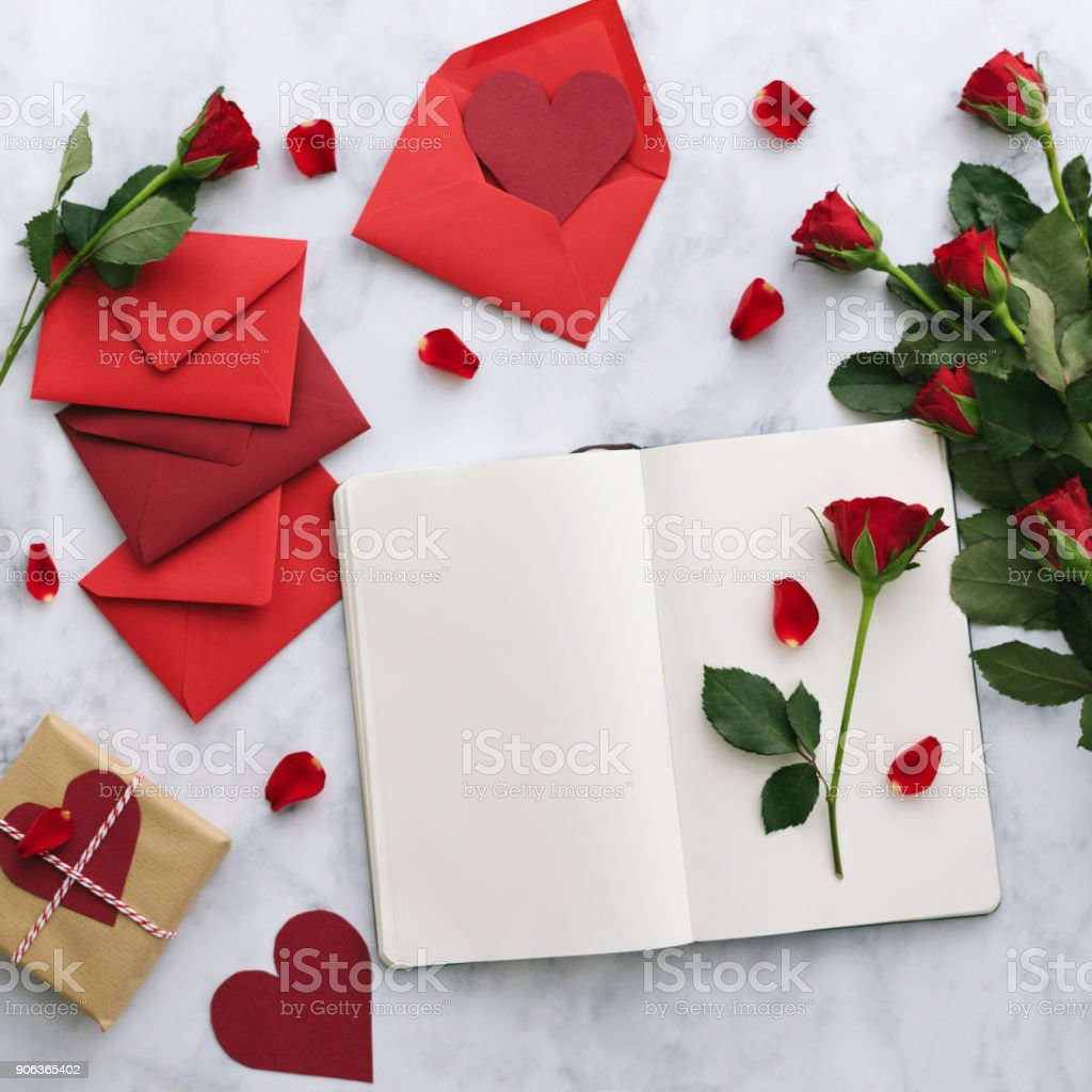 Valentine's Day cards with roses on a marble background royalty-free stock photo