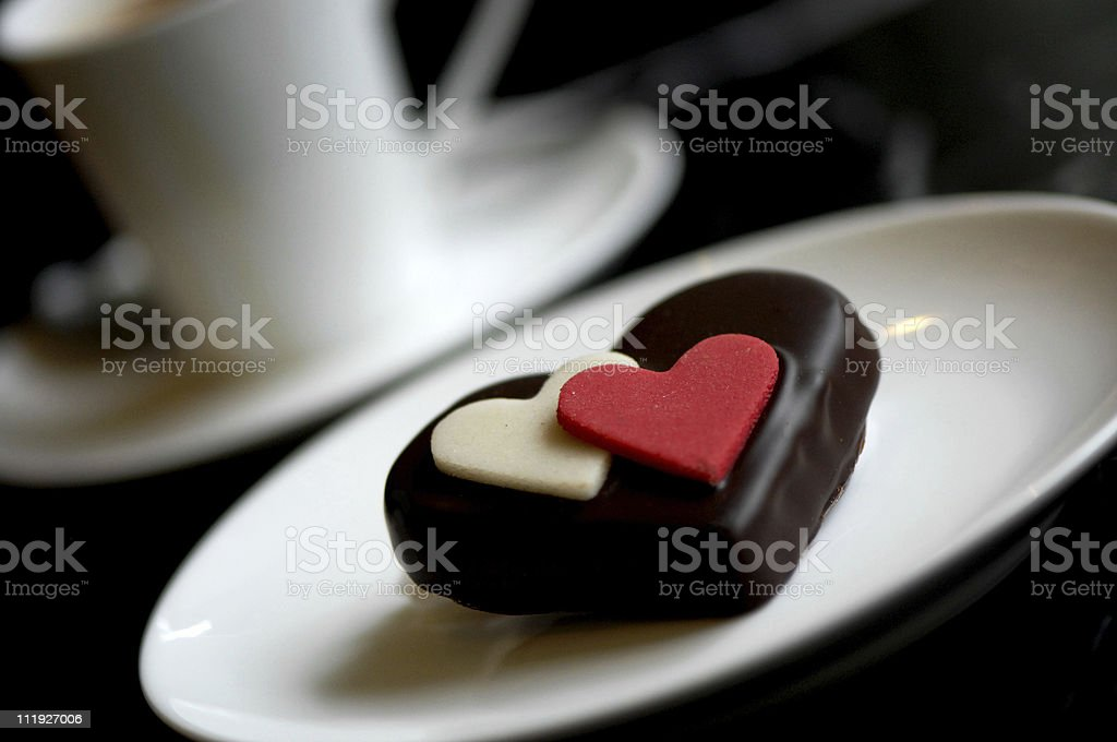 Valentine's Day Chocolate Hearts in a Cafe royalty-free stock photo
