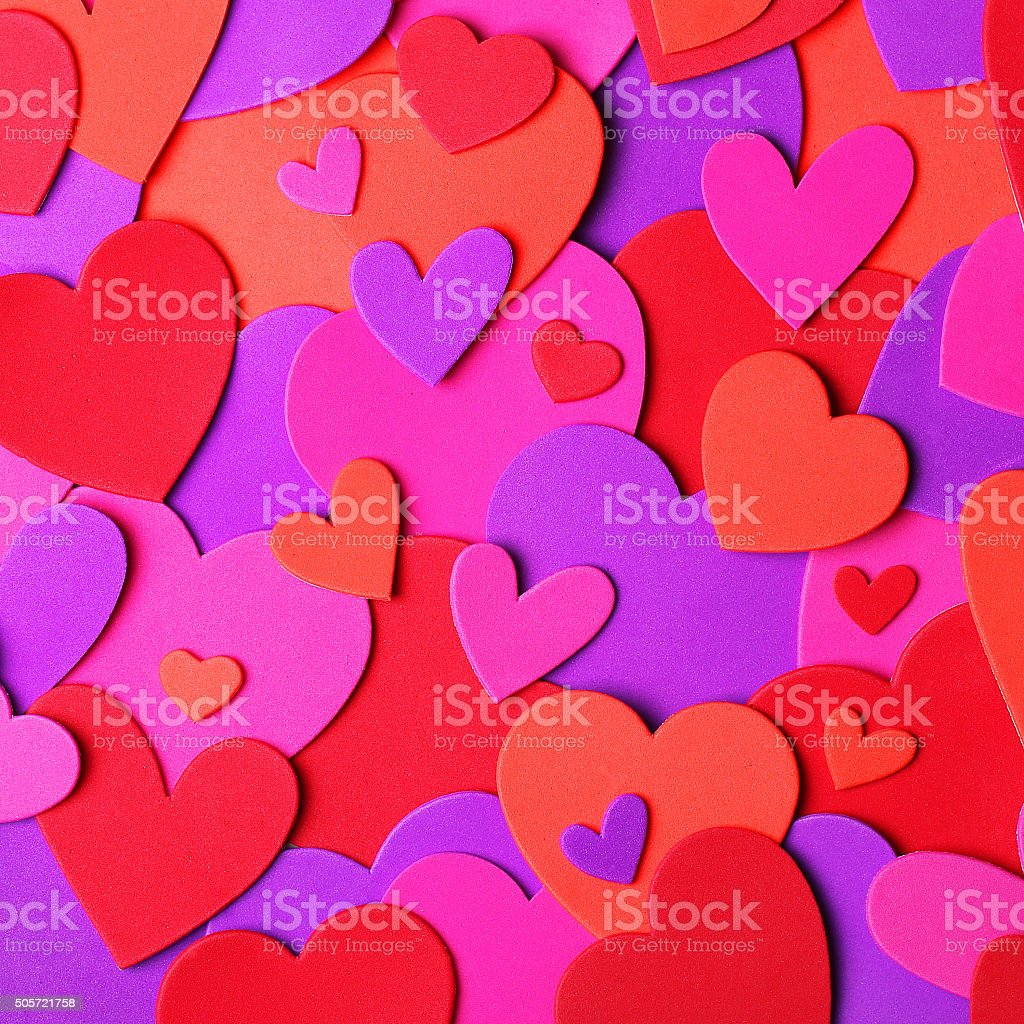 Valentine's Day. Colorful paper hearts stock photo