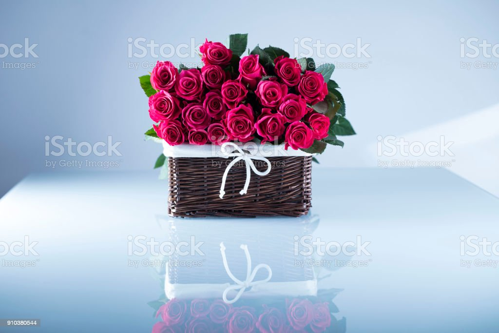Valentines Day Concept Background Roses Gifts Romantic Decorations