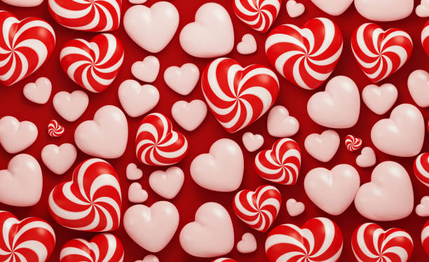 valentine's day concept- candy like red and white heart shapes on red background - kartka na walentynki zdjęcia i obrazy z banku zdjęć