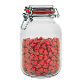 Valentine's Day concept. Glass jar with red hearts, 3D rendering isolated on white background