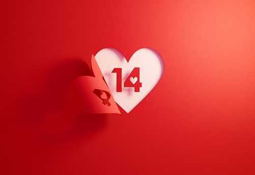 Valentine's Day Concept- Number 14 Inside Of A Red Folding Heart Shape On White Background
