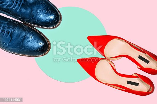istock Valentines day concept with man and woman shoes on pastel pink and green aqua menthe background. 1194114931