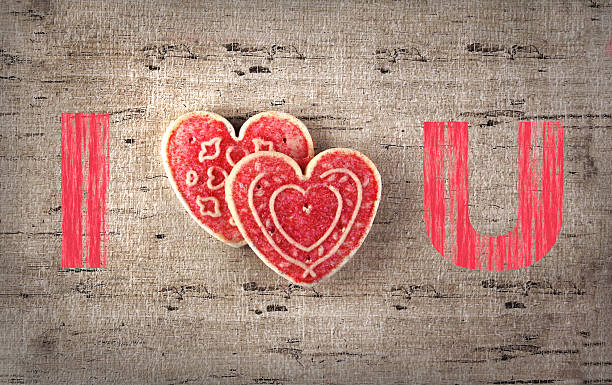 Valentine's day cookie greeting card stock photo