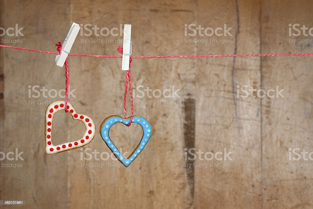 Valentine's Day Cookie Hanging on a Washing Line stock photo
