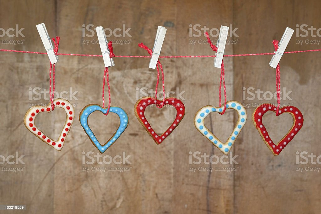 Valentine's Day Cookies Hanging on a Washing Line stock photo