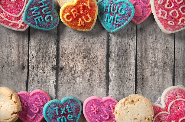 valentine's day cookies on a rustc wooden table stock photo