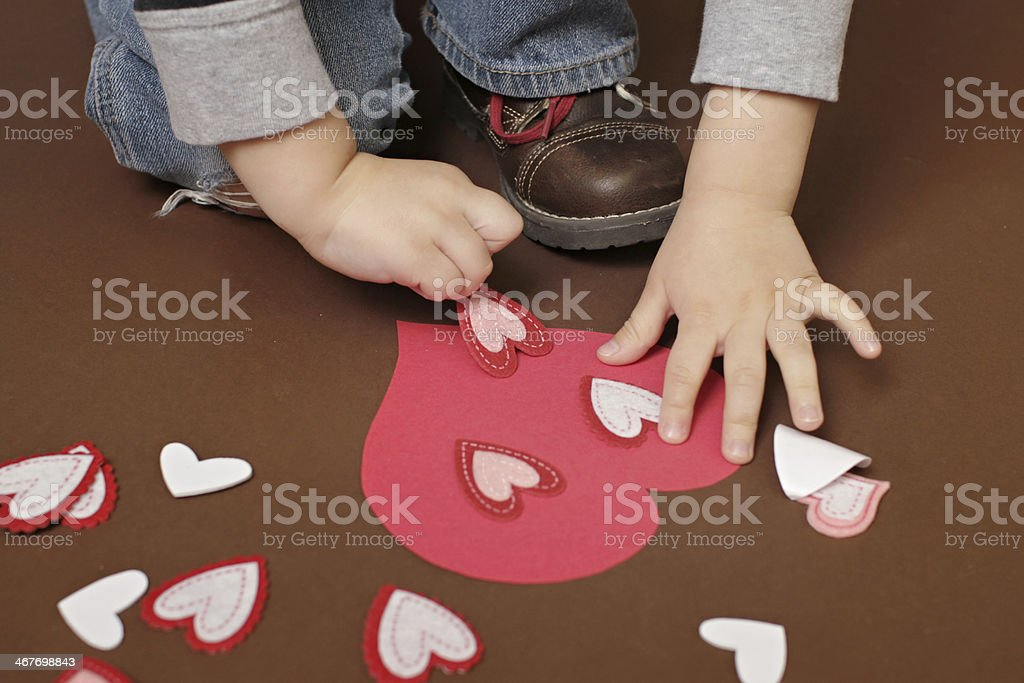 Valentine's Day Craft with Hearts stock photo
