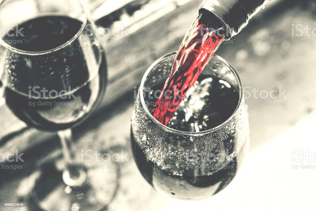 valentine's day, date, love, Celebration. pouring red wine.  Thanksgiving Day - foto stock