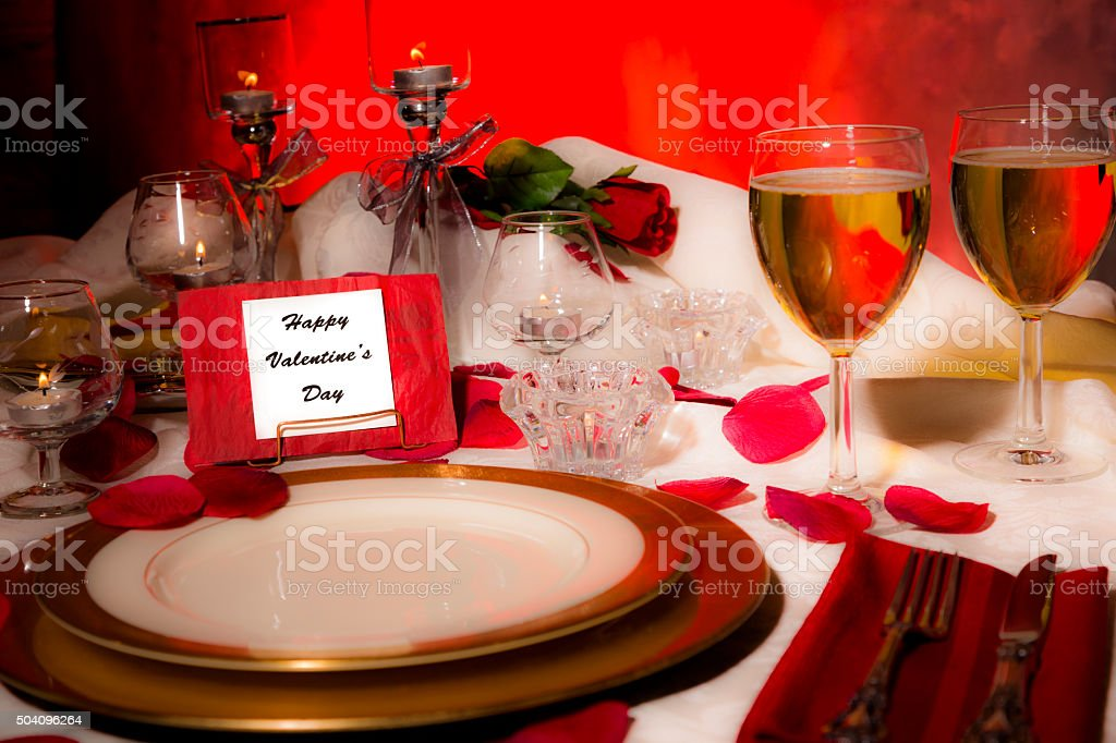 Valentines Day Dinner Romantic Table Place Setting Card On Plate