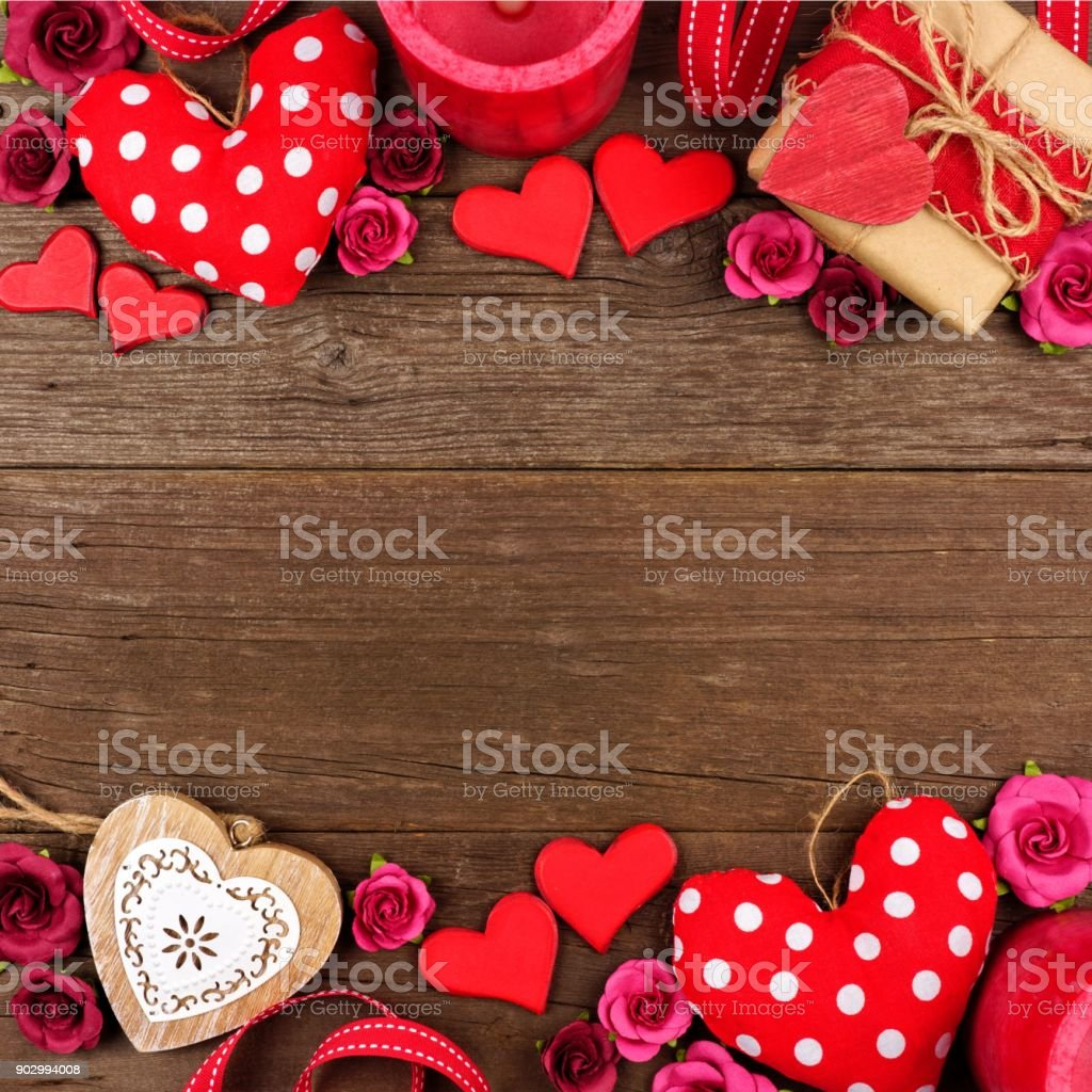 Valentines Day double border of hearts, gifts, flowers and decor...