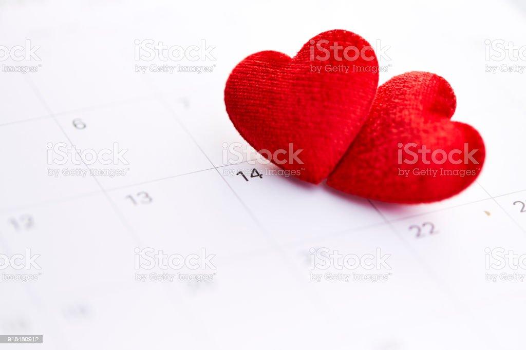 Am Valentinstag Februar 14 Mark Auf Dem Kalender N Stock Fotografie