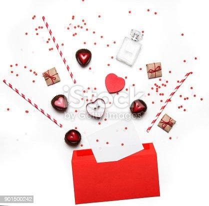 Valentines Day Flach Legen Draufsicht Isoliert Auf Weißem ...
