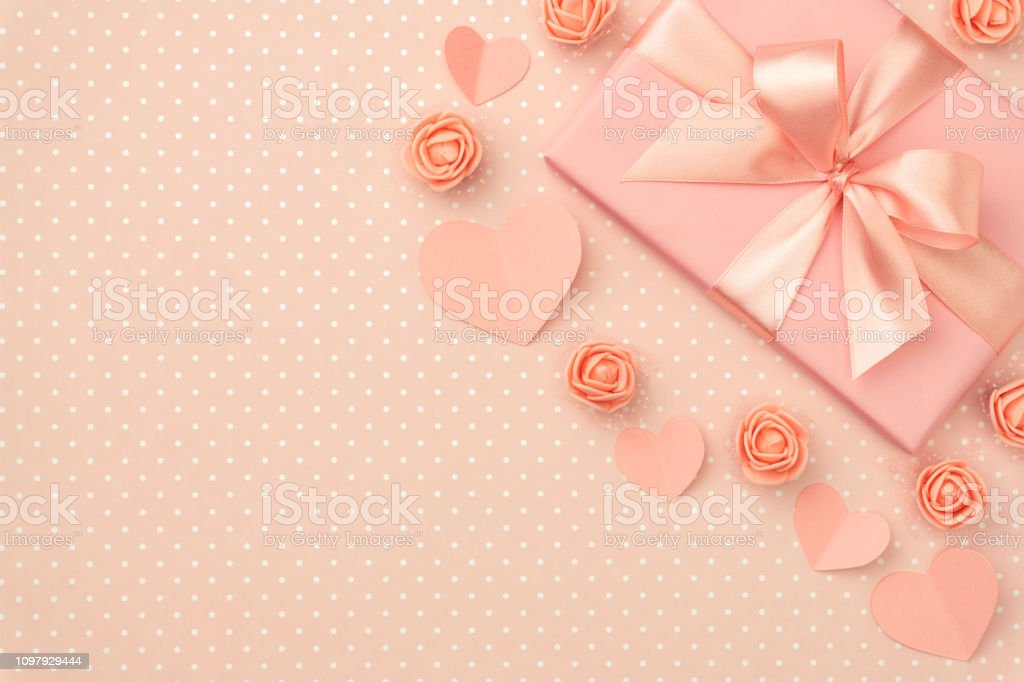 Valentines Day Flower Composition On Living Coral Background With Coral Flowers Rose Paper Small Hearts Gift Box Flat Lay Mothers Day 8 March Women