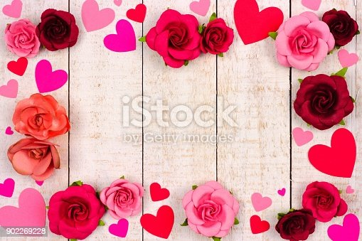 Valentines Day Frame Of Hearts And Roses Against Rustic White Wood Stock Photo More Pictures Above