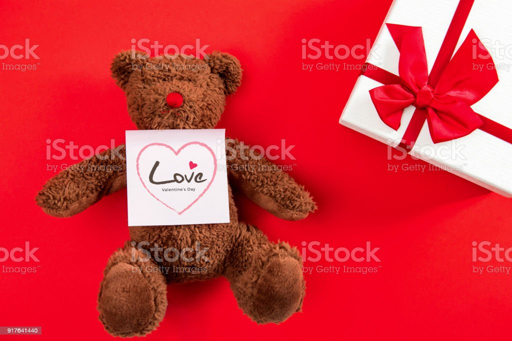 Valentine\'s day gift box and cute bear doll toy with greeting Love...