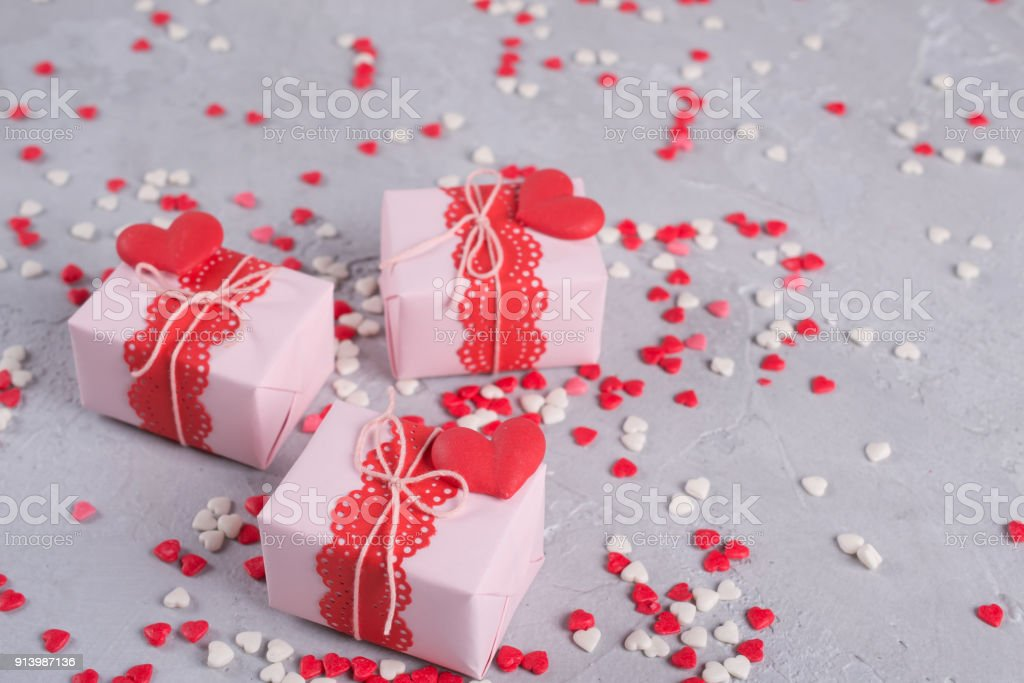 Valentines Day Gift Boxes With Presents And Decorations On Gray ...