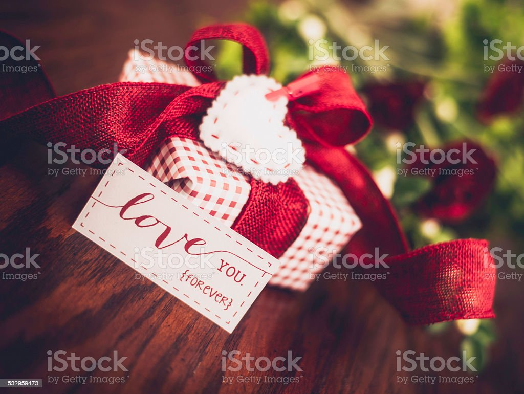 Valentines Day Gift With Love You Forever Message Stock