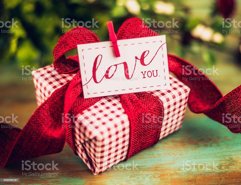 Valentines Day Gift With Love You Message Stock Photo