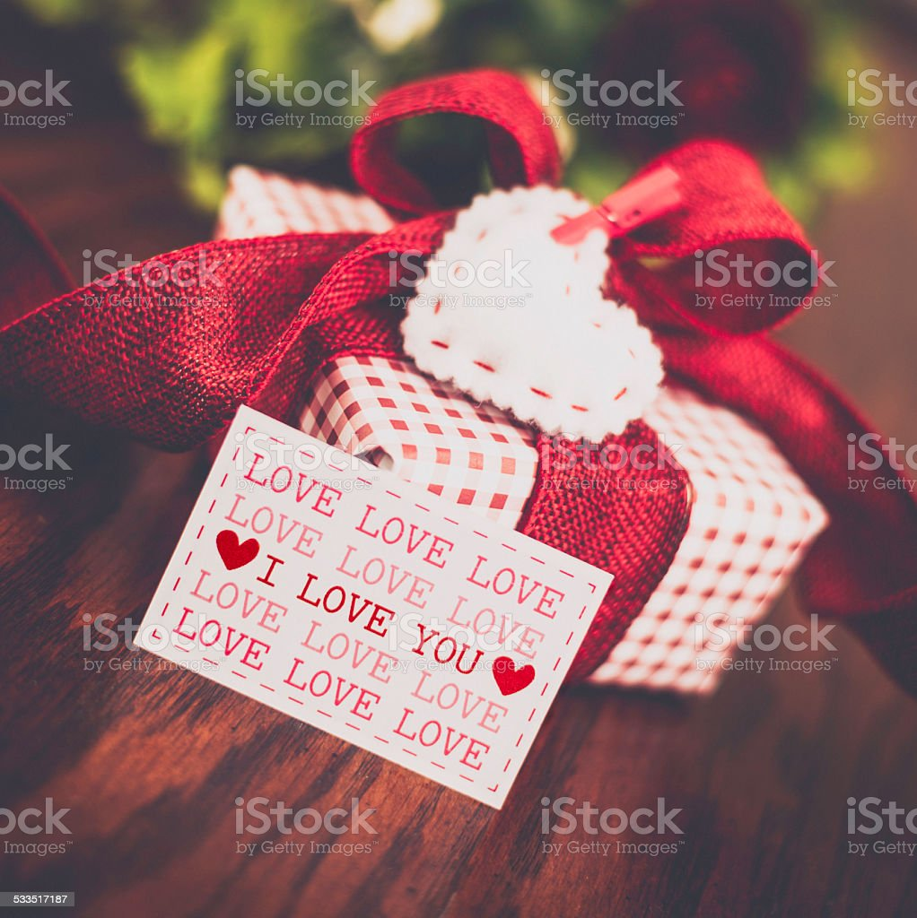 Valentines Day Gift With Message Of Love Stock Photo