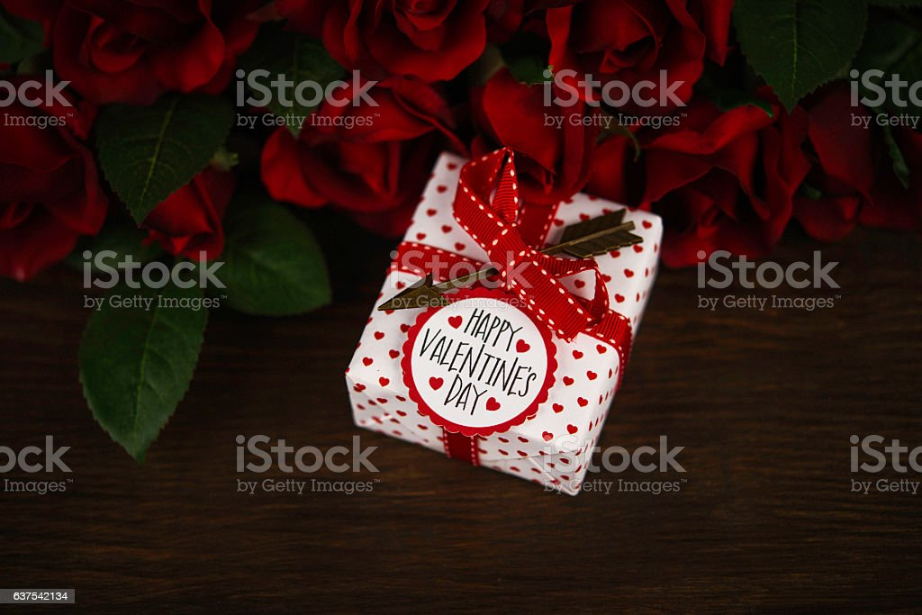 Valentines Day Gift With Red Roses And Happy Valentines