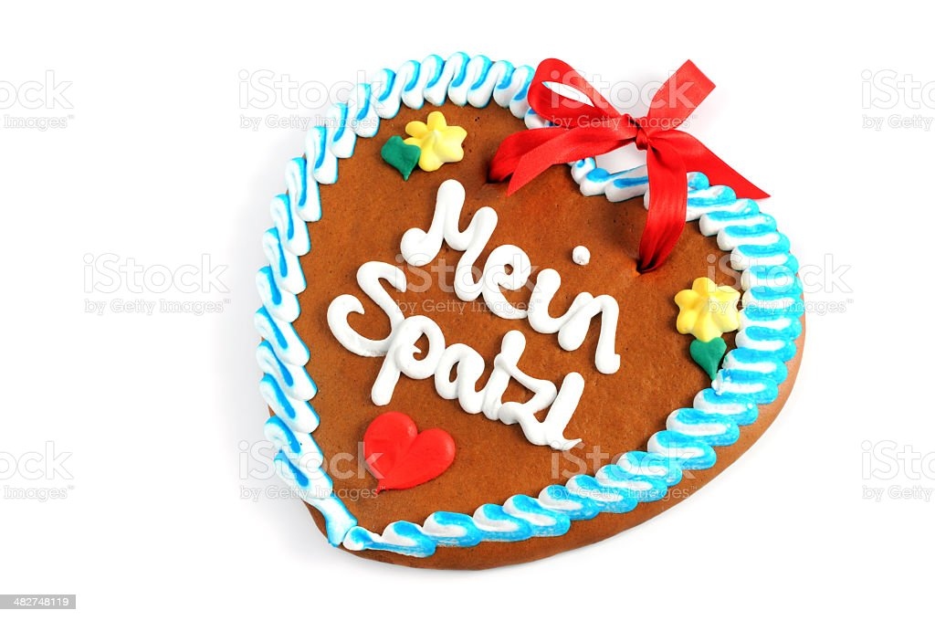 valentines day gingerbread cookie heart with German words my honey royalty-free stock photo