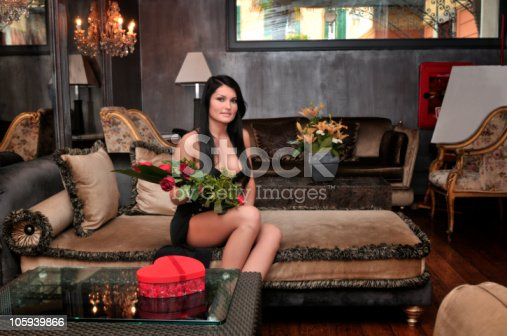 Woman receive flowers and gift