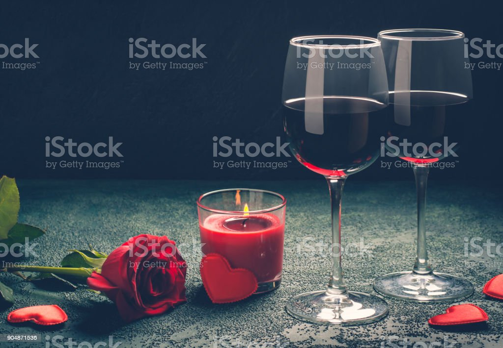 Valentines Day Greeting Card Concept Wine Glasses Rose And Can Stock