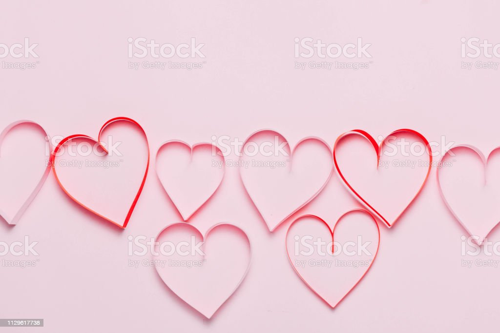 Valentine\'s day greeting card with beautiful pure pink hearts and...