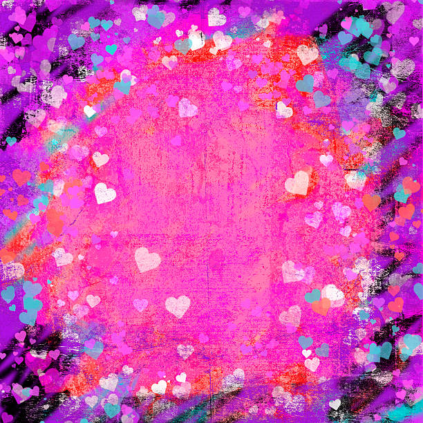 Valentines Day grunge hearts abstract background stock photo
