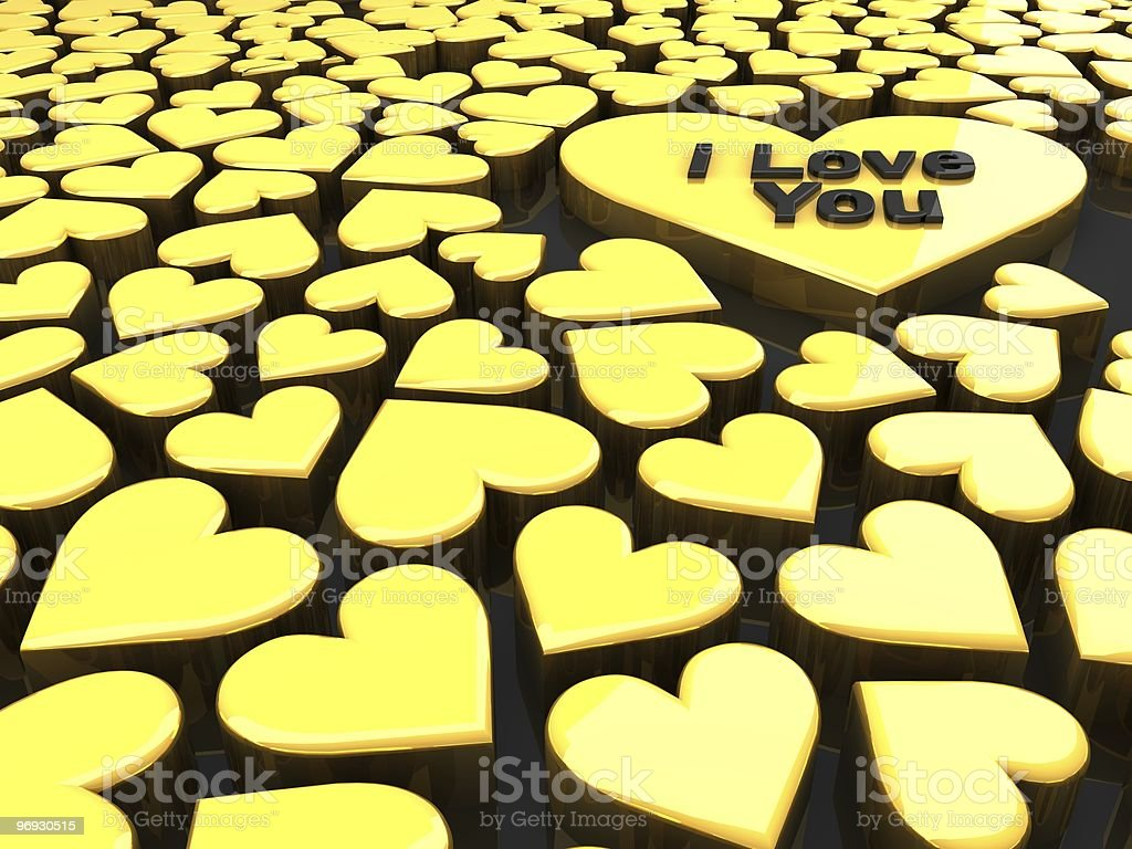 valentine's day heart shapes in a golden color royalty-free stock photo