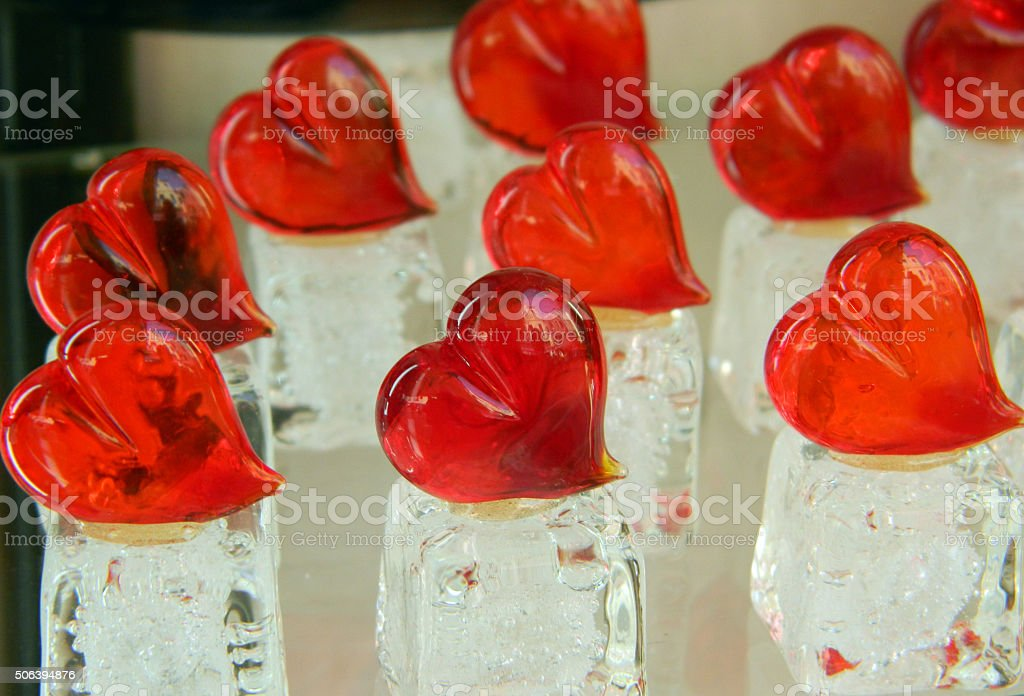 Valentines day hearts made of Murano glass stock photo