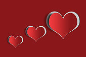 Valentines Day hearts on red background