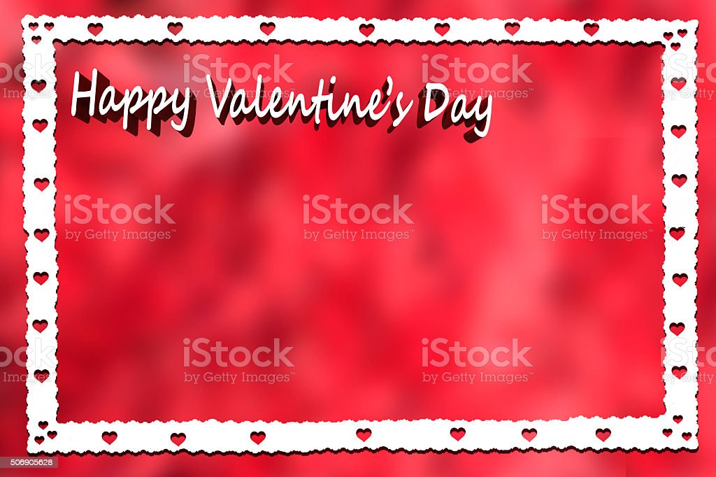 Valentines Day Hearts White Border Red Background Stock Photo More