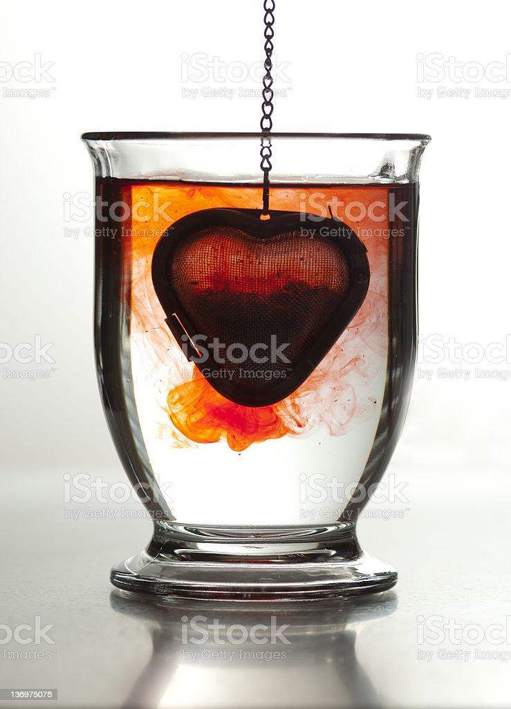 Valentine's Day Heart-Shaped Tea Steeper royalty-free stock photo