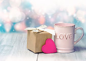 Valentines day icon background. Mug present box heart.