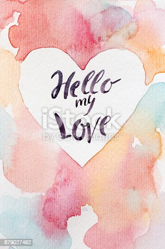 istock valentines day, love, celebrating concept. handmaden greeting card for all lovers day with multicolored background, clean center in form of heart and words that are written by calligrapher 879027462