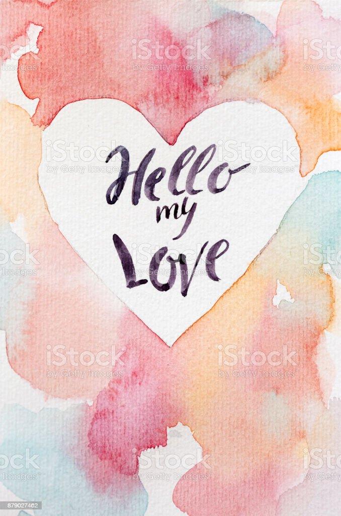 Valentinstag, Liebe, Konzept zu feiern. Handmaden Grußkarte für alle Liebhaber-Tag mit bunten Hintergrund, saubere Center in Form von Herzen und Worte, die von Kalligraphen geschrieben werden – Foto