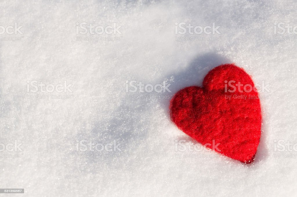 Valentines Day Love Heart In Snow Horizontal stock photo
