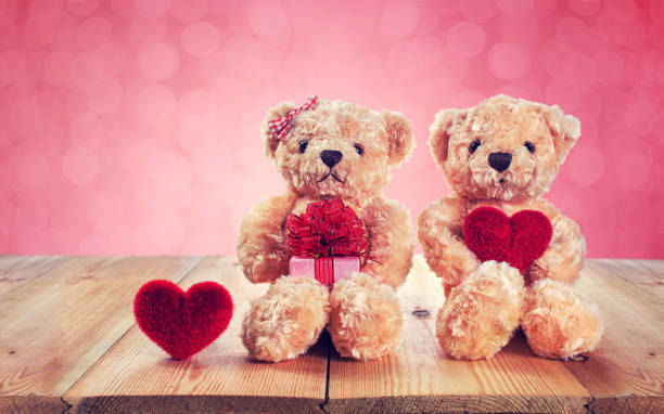 Valentines Day. Liebe Herz. Teddybär mit einer herzförmigen – Foto
