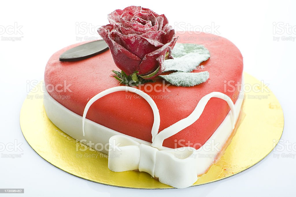 valentine's day lovers cake with red rose and white bow stock photo